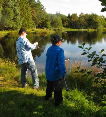 Playing a good rainbow at Annamoe Trout Fishery, Co. Wicklow, Ireland.