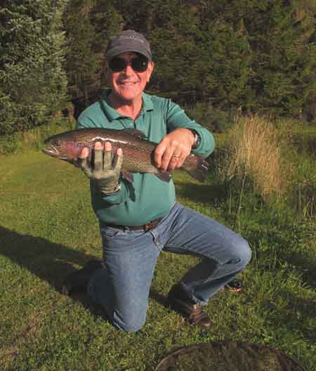 Nice fish, a quality Annamoe rainbow for Stephen from Indiana, USA.