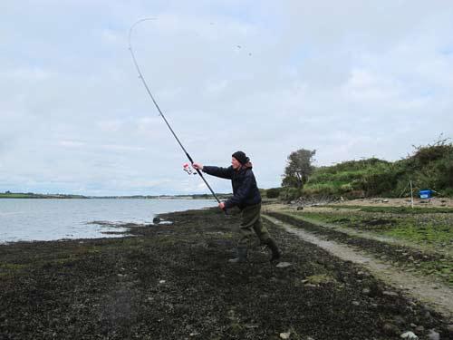 Casting lug baits after bass on an estuary mark.