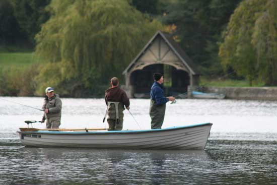 Pike fishing off the boathouse shore, Castle Leslie, Co. Monaghan, Ireland.
