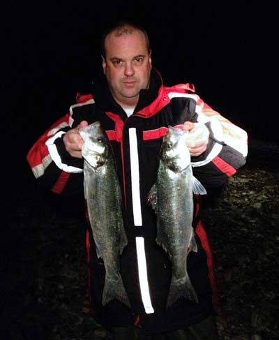 Wexford shore angler Frank Flanagan with a brace of quality bass to peeler crab.