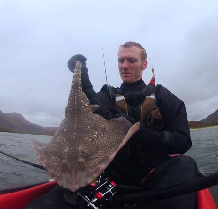 A quality thornback ray for sea kayak angler Gary Robinson.