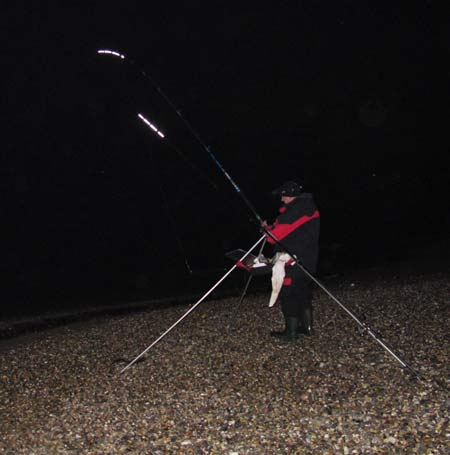 Reeling in a catch of winter whiting.