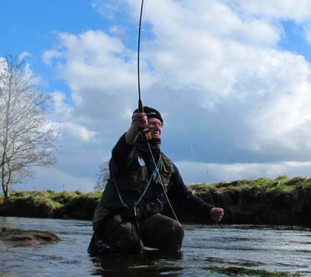 Early season fly fishing on a rain fed Irish trout stream.