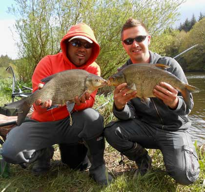 A brace of 4.lb plus River Barrow bream for persistant anglers Alastair Leong and Paul Millea.