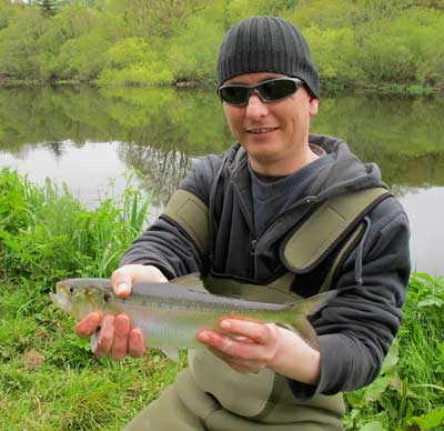 Darren Snidall displays a rare 2013 River Barrow shad.