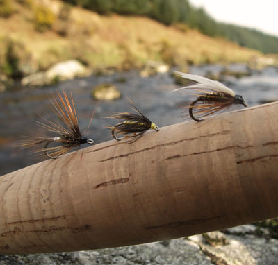 Wet flies for Co. Wicklow streams (L - R) Kill devil spider, Greenwells spider, Coachman.