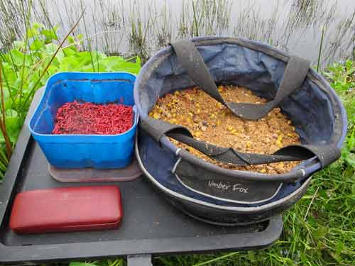 Groundbait mix and red maggots for the feeder.