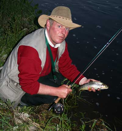 Kell's Co. Meath based angling guide Pat McLaughlin with a Blackwater brownie caught evening dry fly fishing.