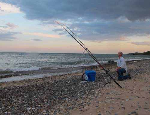 Evening fishing off Ennereilly, Co. Wicklow, Ireland.