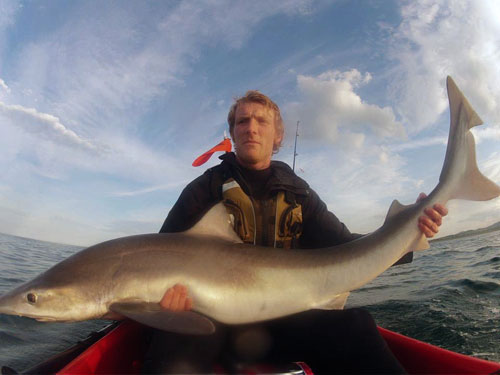 Kayak angler Gary Robinson with his Irish specimen tope.