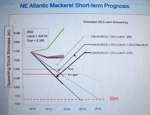 Chart showing recent decline in North East Atlantic mackerel due to recent over quota catches.
