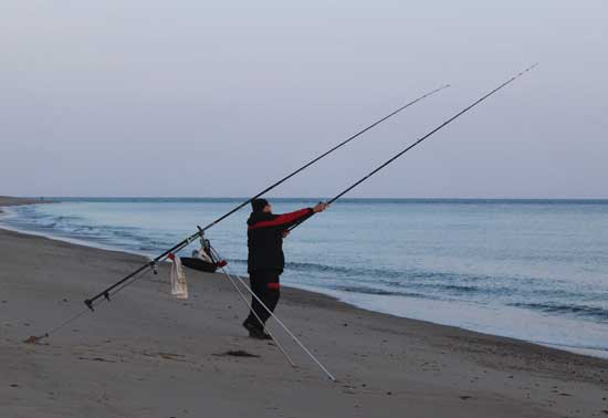 Gerry Mitchell beach casting off a Sth County Wexford strand.