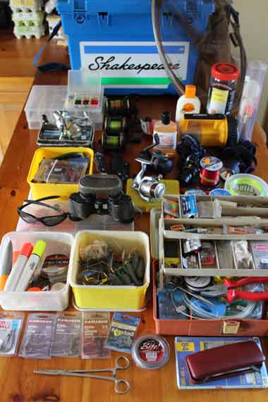 Sea fishing tackle check.
