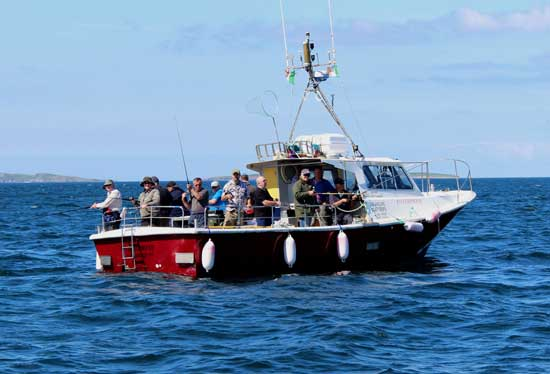 Recreational sea fishing aboard an Irish charter boat.