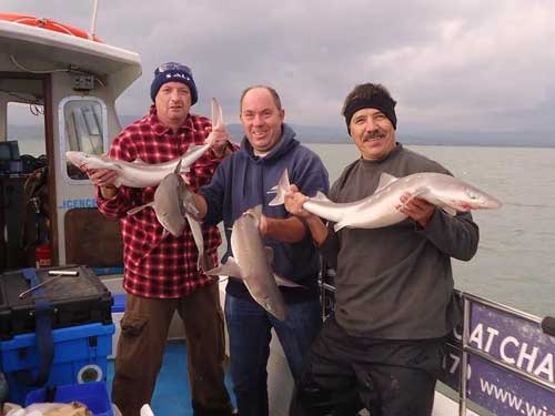 Skipper Kit Dunne, Wicklow Boat Charters, with a brace of happy clients.