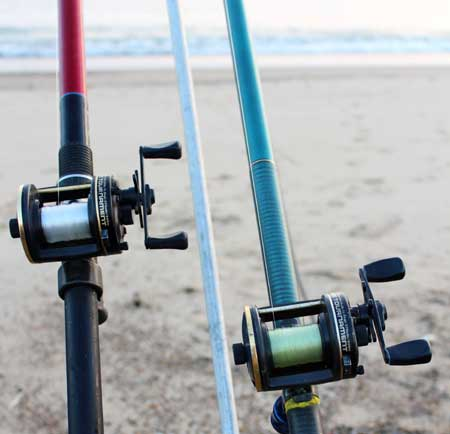Daiwa surf rods and matching Millionaire reels.