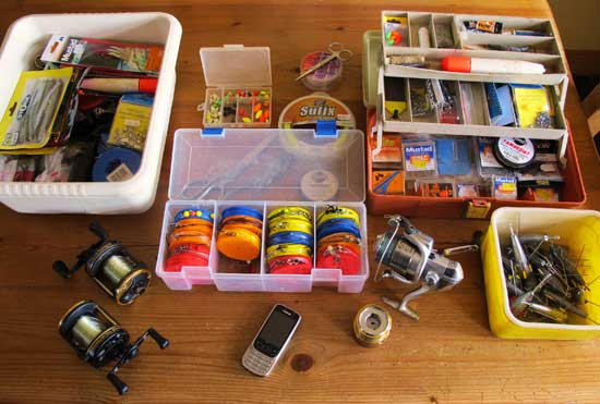 A range of sea fishing tackle.