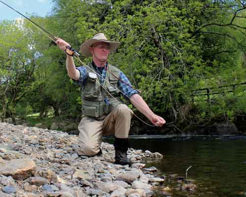 Fly fishing in Ireland for wild brown trout.