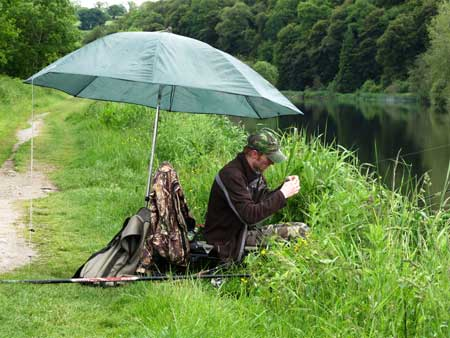 Coarse fishing on the towpath, River Barrow, Ireland.
