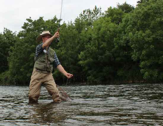 Fly fishing on the River Barrow, County Carlow, Ireland.