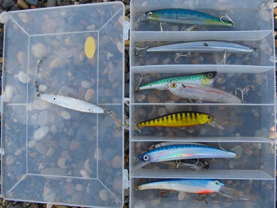 A selection of proven bass fishing lures.