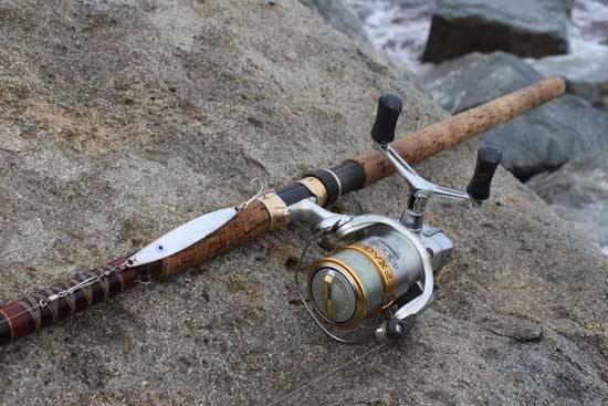 Bass fishing in Ireland, rod, reel and lure.