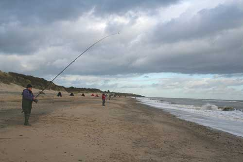 Sea fishing at Clones Strand, Co. Wexford, Ireland.