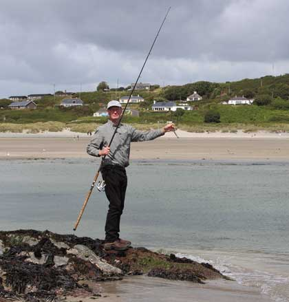 Bass fishing, Inchydoney strand, West Cork, Ireland.