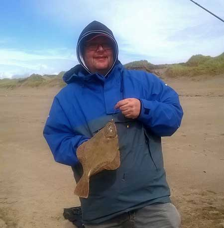 Clive Jones with a grand beach caught Wexford flounder.