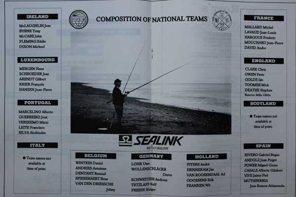 European Surfcasting Championships 1989, Team Sheets.
