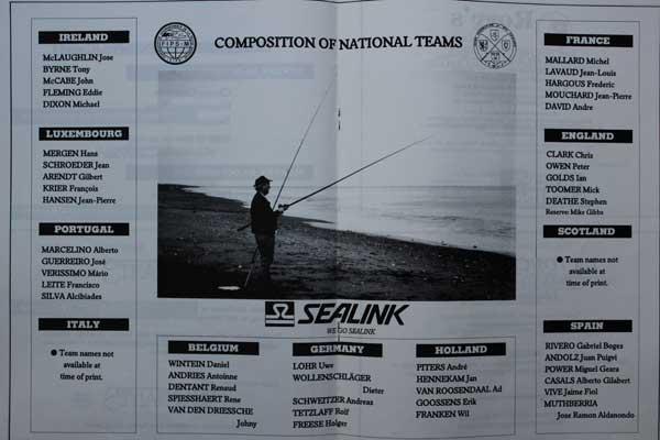 European Surfcasting Championships 1989, Team Sheets.