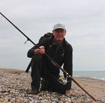 Ashley Hayden lure fishing on Kilcoole beach, Co. Wicklow.
