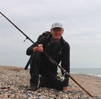 Ashley Hayden lure fishing on Kilcoole beach, Co. Wicklow.