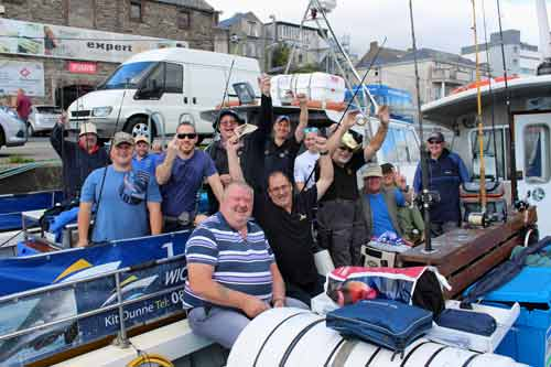 Welsh sea anglers having the craic with Kit Dunne and Wicklow Boat Charters.