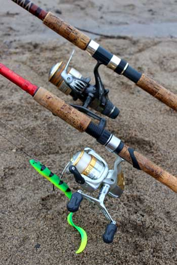 Pike fishing reels for spinning (front) and dead baiting (rear).