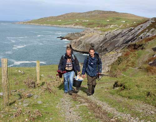 Hiking towards a favourite rock mark on the Beara Peninsula, County Cork, Ireland.