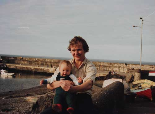 Taken in 1985, Ashley Hayden with his first daughter Emma - Claire on the boat slip, Greystones, Co. Wicklow.